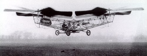 "The de Bothezat helicopter, known as the ""Flying Octopus"", undergoes a test flight. Image source:  De Bothezat Flying Octopus.jpg , licensed under  Public Domain Mark 1.0"