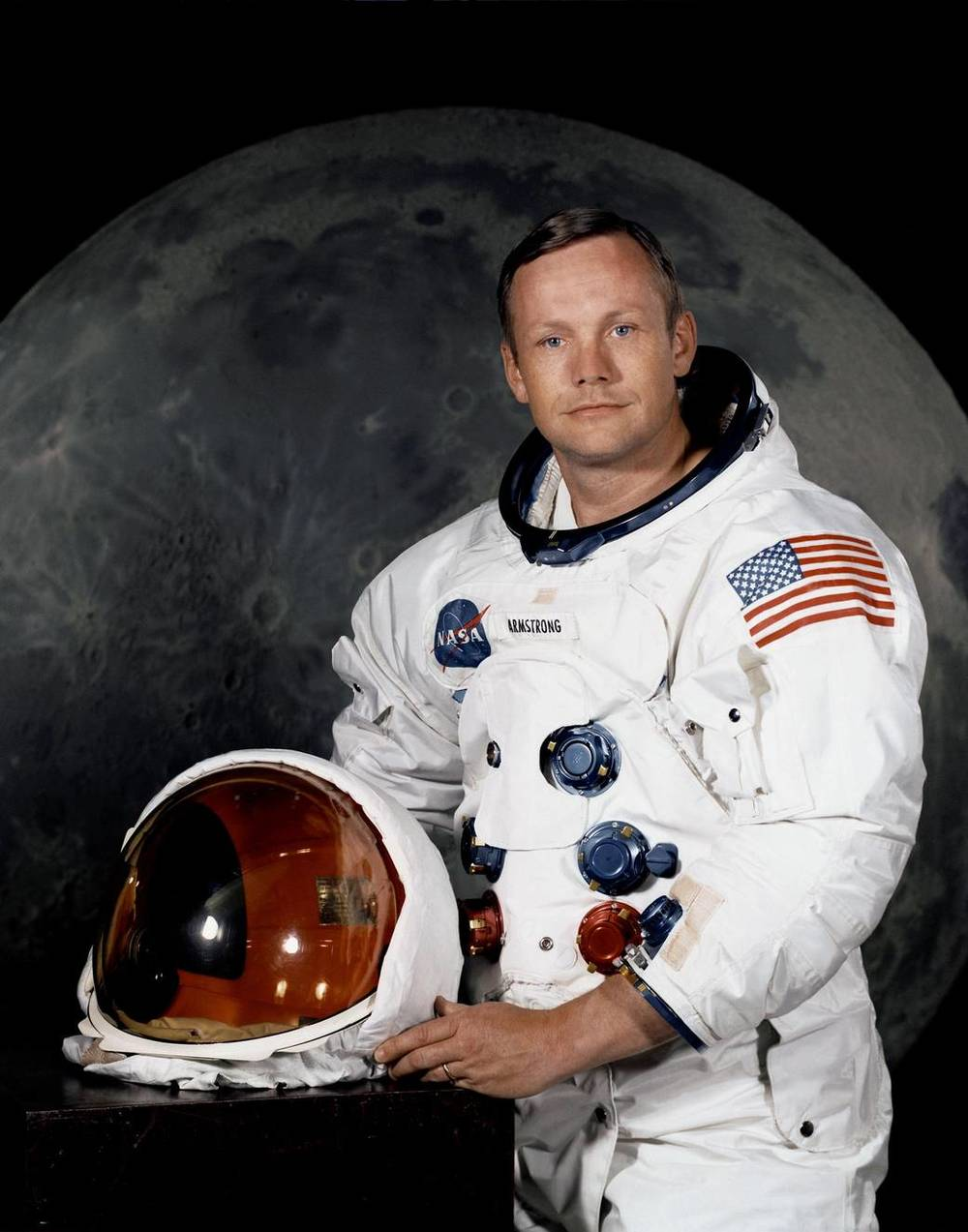 Official Portrait of Neil Armstrong. Portrait of Astronaut Neil A. Armstrong, commander of the Apollo 11 Lunar Landing mission in his space suit.  Image credit: NASA
