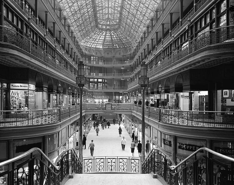 The Arcade in Cleveland, Ohio, looking south toward Euclid Avenue, Date 7 March 1966.  Image source: Historic American Building Survey; Library of Congress HABS OHIO,18-CLEV,6-1. Accessed at: Cleveland Arcade, 1966.jpg. Licensed under Public Domain Mark 1.0.