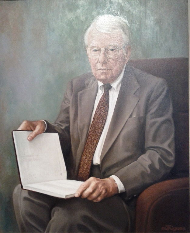Fredrick Kilgour (1914-2006) portrait as seen in the lobby of the Kilgour Building, Dublin, Ohio. The portrait was painted ca. 1992 by the artist Marvin Triguba (1930–2002). Image source:  Kilgour Portrait.jpg  by  Mlet  is licensed under  CC BY 3.0