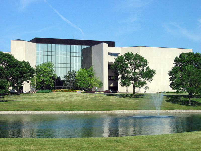 The Kilgour Building, the headquarters of the library non-profit OCLC, image date 13 June 2007. Image source:  Kilgour Building, OCLC, Dublin, OH.jpg  by  Matkatamiba   is licensed under  CC BY 3.0