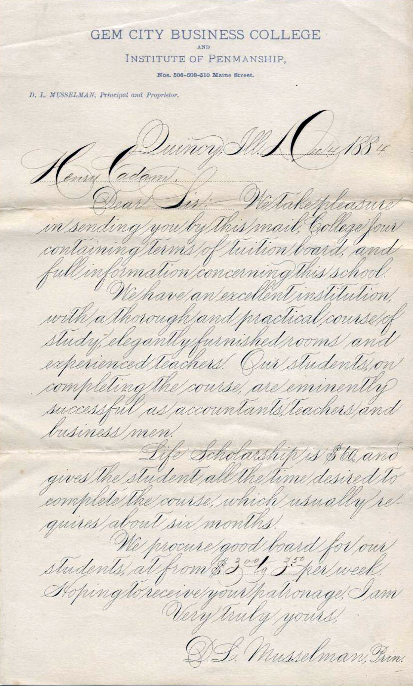 Example of Spencerian script by D.L. Musselman, 4 December 1884. Image source Spencerian example.jpg (originally derived from IAMPETH) is licensed under Public Domain Mark 1.0