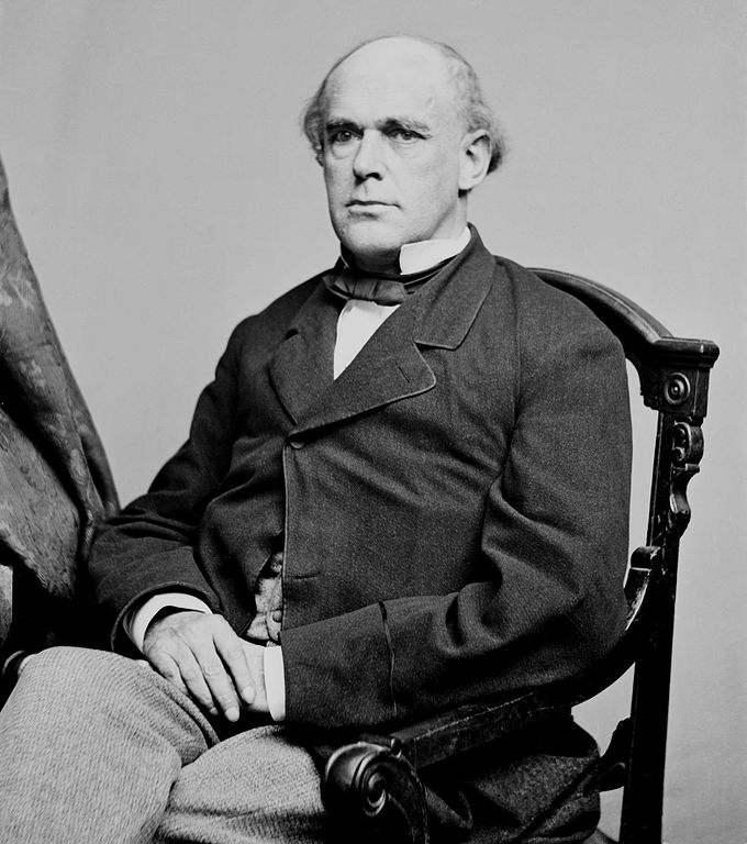 Portrait of Secretary of the Treasury Salmon P. Chase. Portrait dated between 1860 and 1865. Image source:  Mathew Brady, Portrait of Secretary of the Treasury Salmon P. Chase, officer of the United States government (1860–1865, full version).jpg (original derived from Library of Congress) by photographer Mathew Brady is licensed under Public Domain Mark 1.0
