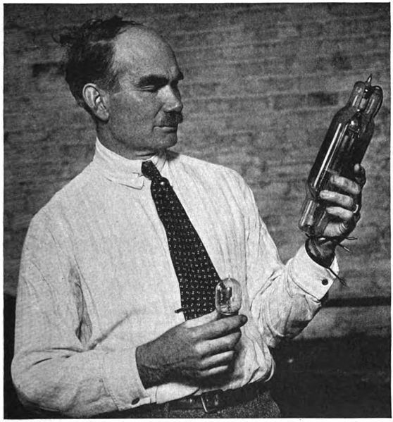 American electrical engineer Lee de Forest, the inventor of the triode vacuum tube (the Audion), with two of his tubes. Image source: Lee De Forest with Audion tubes.jpg (original derived from Popular Radio, May 1922) by unknown photographer is licensed under Public Domain Mark 1.0