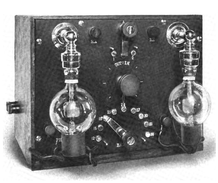 An early audion radio receiver built by the inventor of the audion vacuum tube, Lee De Forest, around 1914. Image source: Audion receiver.jpg (original derived from the Proceedings of the Institute of Radio Engineers, Volume 2, 1914) by Lee De Forest is licensed under Public Domain Mark 1.0