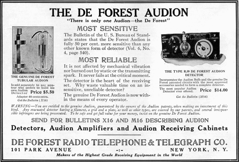 Advertisement for the Audion vacuum tube invented by Lee De Forest in 1907, from The Electrical Experimenter magazine, August 1916. Image source: Audion vacuum tube advertisement.png (originally derived from The Electrical Experimenter magazine, June 1916, volume 4, number 2, page 76) by Experimenter Publishing Company is licensed under Public Domain Mark 1.0