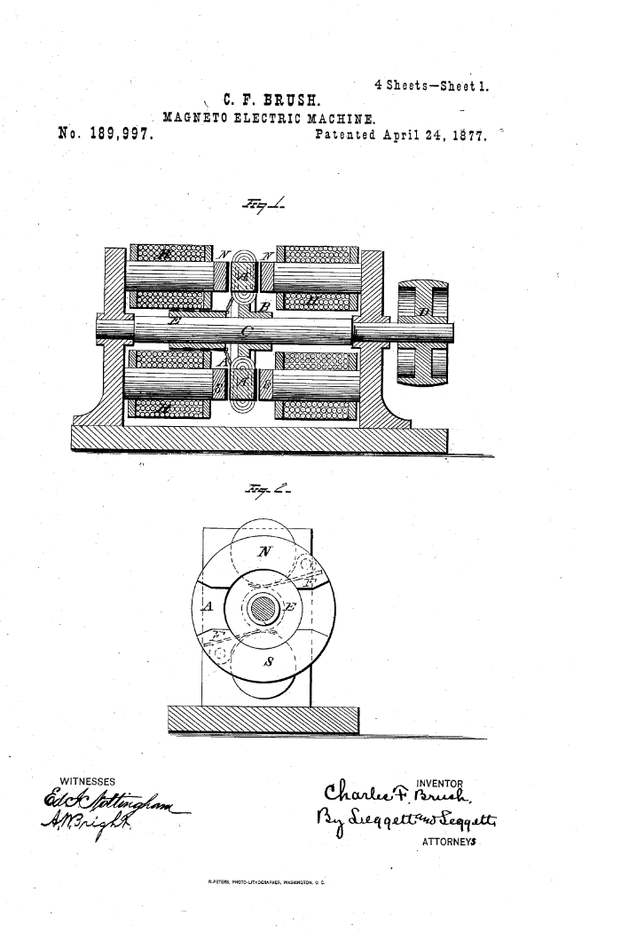 Improvement in Magneto-Electric Machines, US patent 189997, Charles F. Brush, 1877. Image source:  Patent #: US000189997  (accessed from  United States Patent and Trademark Office    )  by Charles F. Brush is licensed under  Public Domain Mark 1.0