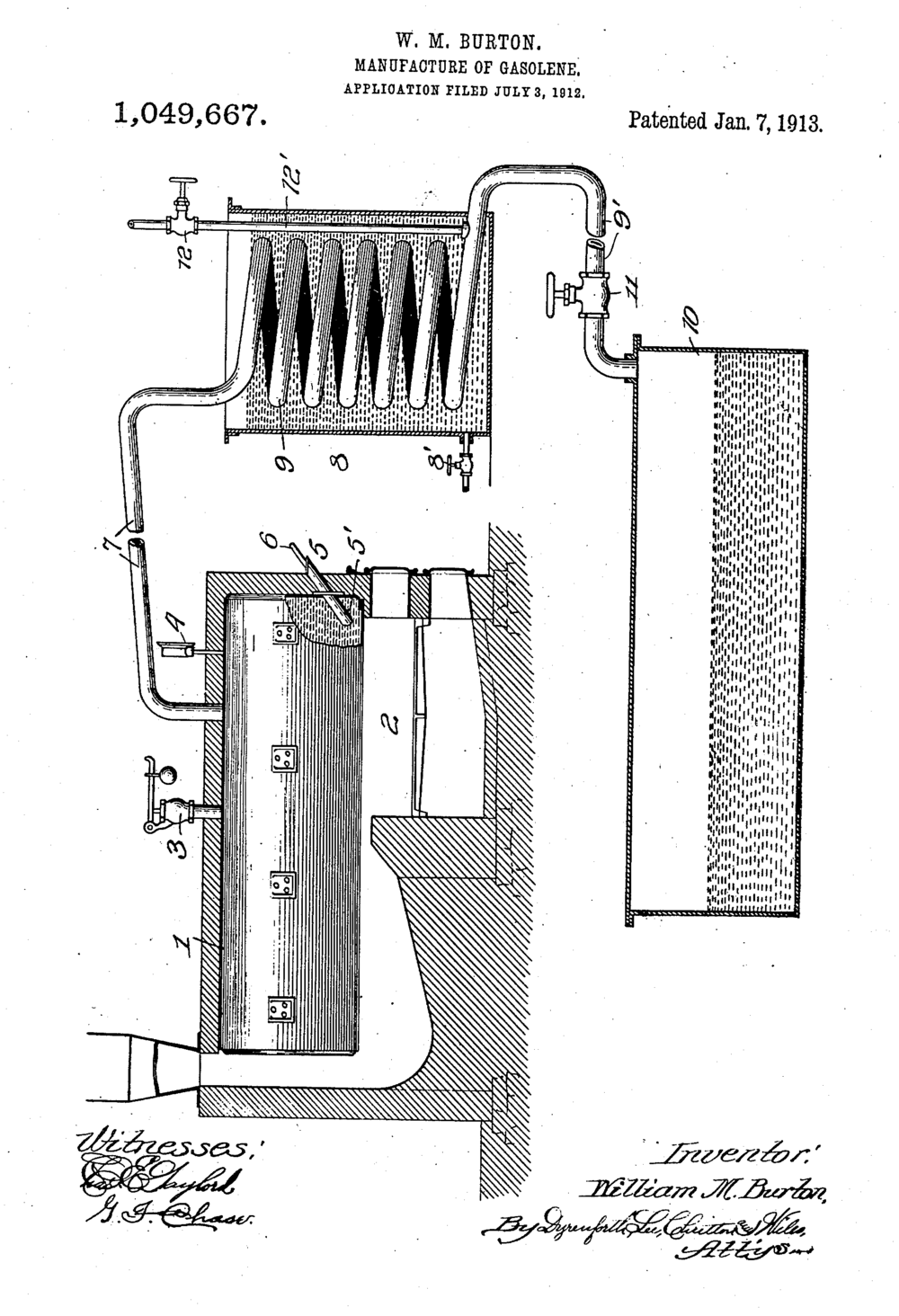 Manufacture of gasoline [sic], US patent 1049667, William M. Burton, 1913. Image source: Patent #: US001049667 (accessed from United States Patent and Trademark Office) by William M. Burton is licensed under Public Domain Mark 1.0