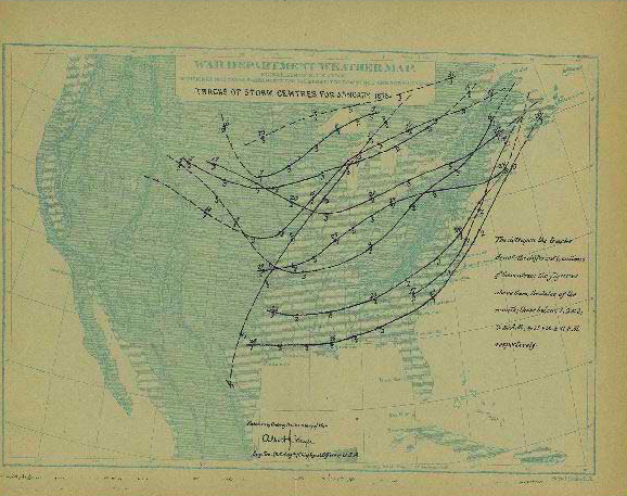 Tracks of Storm Centres for January 1873 from Monthly Weather Review vol. 1 issue 1. Image source: Monthly Weather Review Author and Subject Index 1873-1935 by National Oceanic and Atmospheric Administration Central Library Data Imaging Project is licensed under Public Domain Mark 1.0