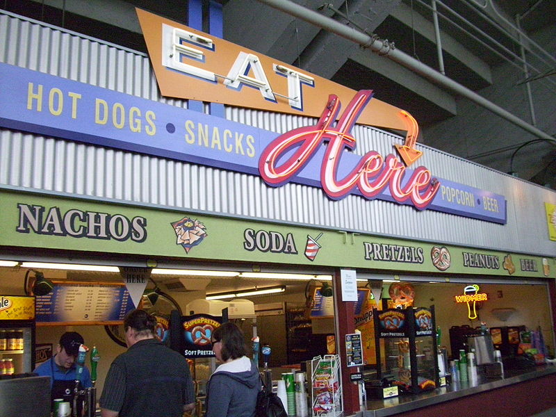 A modern concession stand at Providence Park, Portland, Oregon, 11 April 2010.  Image source:  PGE Park concession stand.JPG  by  Halvorsen brian  is licensed under  CC BY-SA 3.0