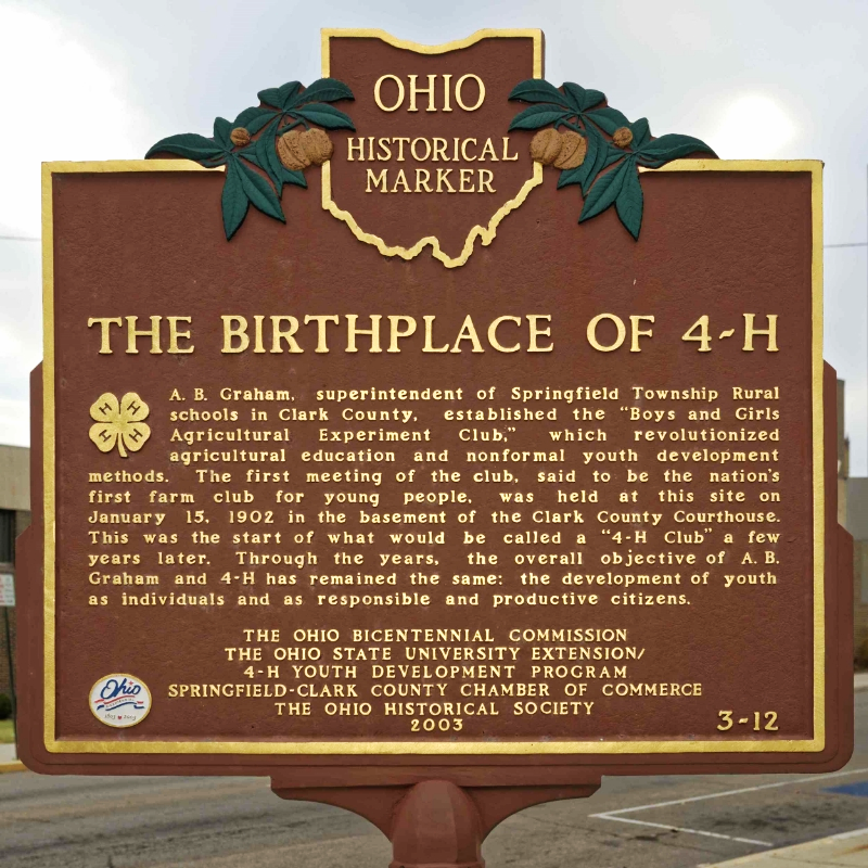 The Birthplace of 4-H, Ohio Historical Marker, in downtown Springfield, Ohio, 2015. Image source:  The Ohio Academy of Science