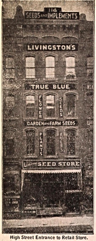 High street entrance to retail store, 114 North High Street, Columbus, Ohio, from A. W. Livingston's Sons annual [catalog] of true blue seeds, page 2, 1897. Image source:  A. W. Livingston's Sons annual of true blue seeds  (accessed from  Internet Archive ) by Livingston Seed Company;   Henry G. Gilbert Nursery and Seed Trade Catalog Collection   (specifically  here ) is licensed under  Public Domain Mark 1.0
