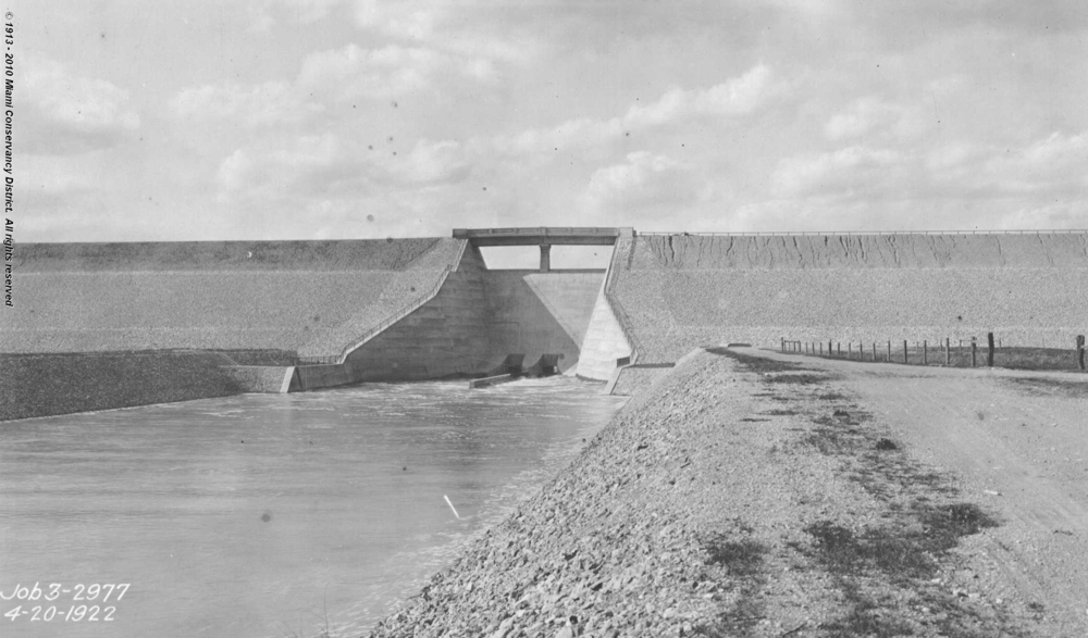 Lockington Dam, Shelby County, Ohio, April 20, 1922 . Image source: courtesy of  The Miami Conservancy District