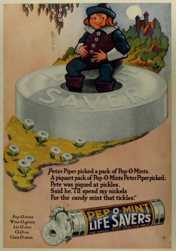 Pep-O-Mint Life Savers add in Photoplay Magazine, September 1922. Image source: Photoplay Magazine, September 1922, v.22, No. 4, pp. 2 (derived from Internet Archive) is licensed under Public Domain Mark 1.0