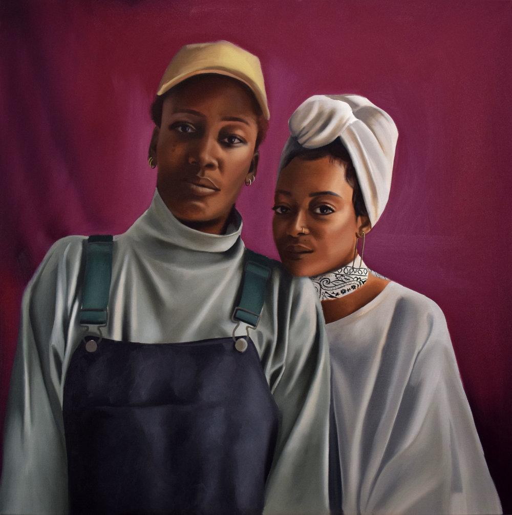 Dynasty and Trae, oil on canvas, 36 x 36.jpg
