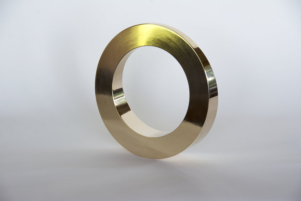 Bronze kinetic circle sculpture Tarik Currimbhoy