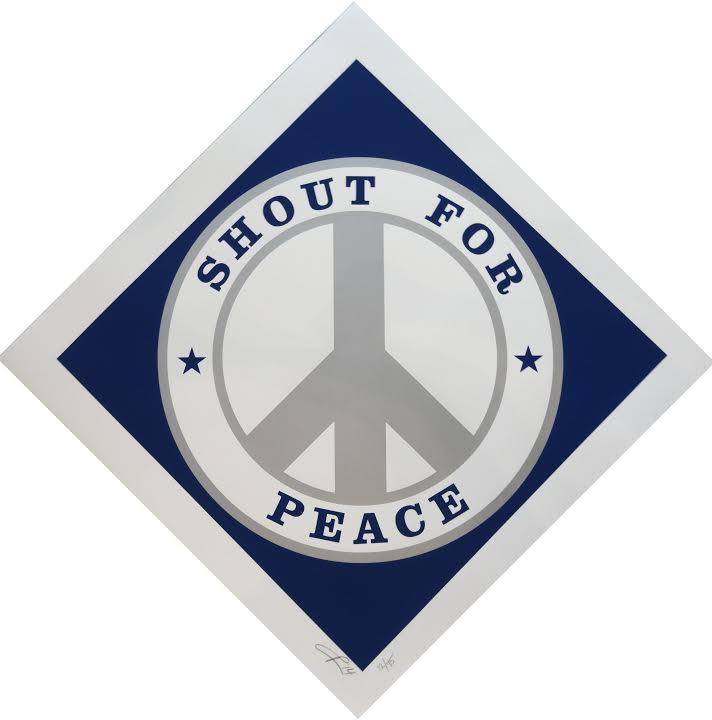 Robert Indiana - Shout for Peace (Blue and Silver)