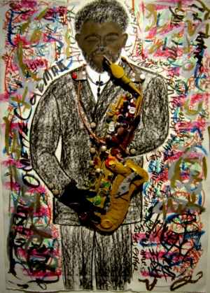 Ornette Coleman   JAZZ Series,  mixed media on paper   42h x 30w