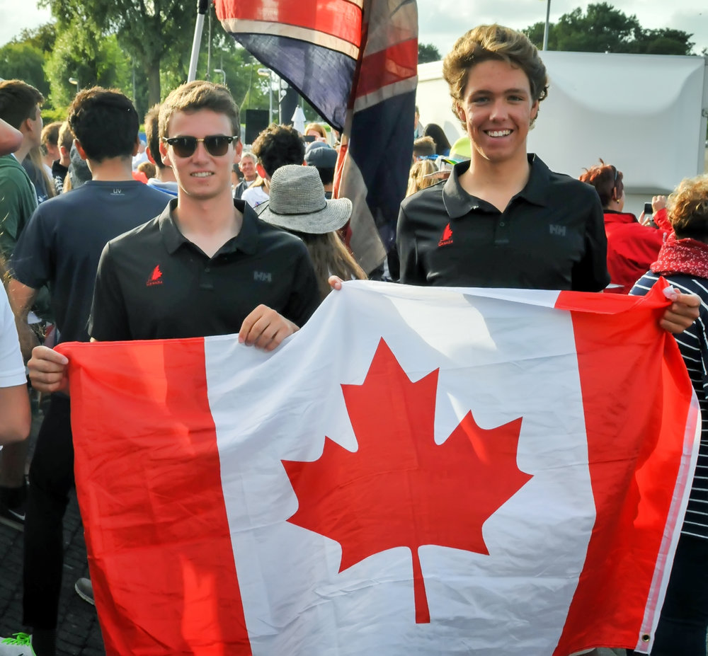 Fellow Ontario Sailing Team member Norman Struthers (right) and I proudly representing Canada at the Opening Ceremonies. PHOTO CREDIT: Elle Struthers