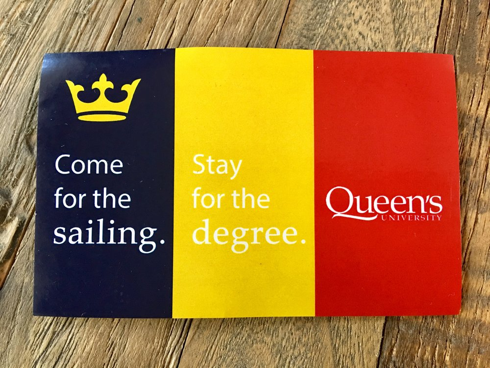 Queen's University Sailing Team promo stickers handed out at CORK.  Brilliant!