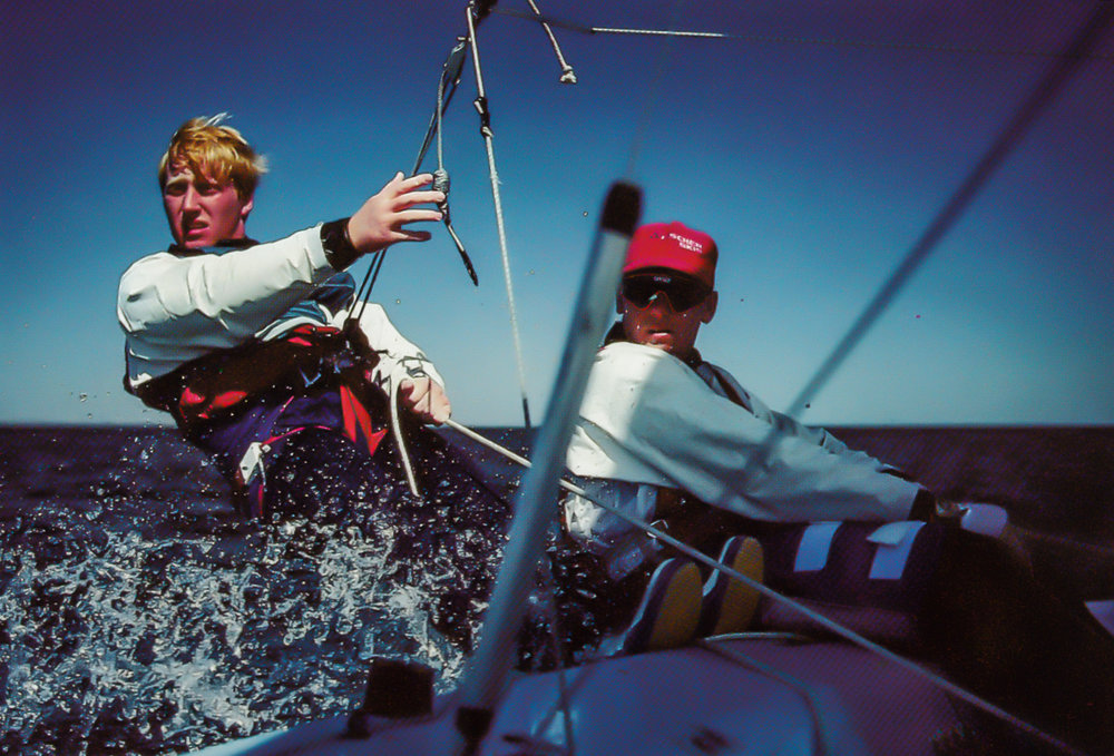 Canadian Olympic Team Campaign for KC297 - Flying Dutchman team Mike Wolfs (l) and Stuart Bruce (r).  Summer 1991