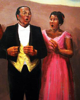 Thomas and Carol Brice Carey in a detail from the lobby mural in the Reynolds Performing Arts Center, by Oklahoma artist Mike Larsen .