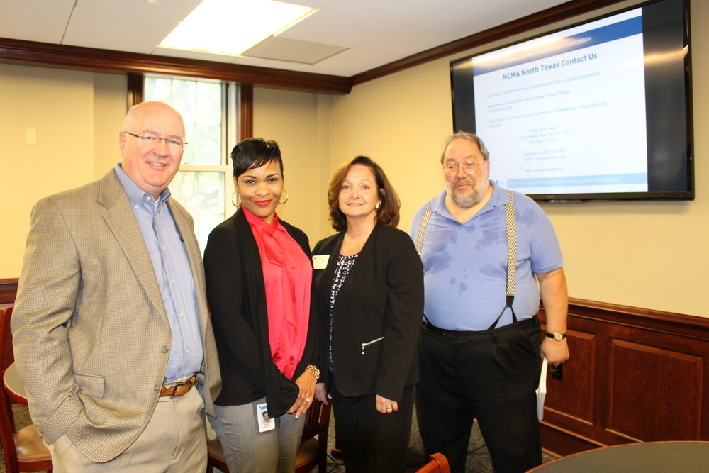 THE NCMA NTX CHAPTER PRESENTED TO THE SMU SCHOOL OF LAW IN OCTOBER 2016. L-R: DANIEL FORBES, CHAPTER PRESIDENT; RUBY WILSON, COLLEGE OUTREACH CO-CHARI; , KAREN SARGENT, SMU Executive Director, Office of Career Services;  AND HARALD MALLWITZ, COLLEGE OUTREACH CO-CHAIR AND PRESENTER