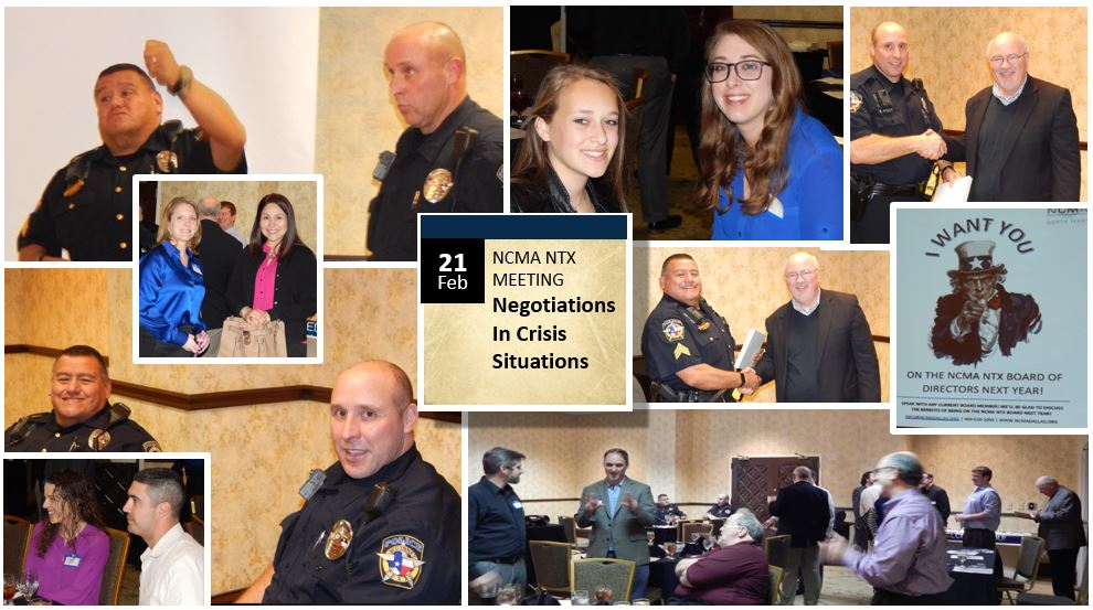 "FEBRUARY 2017. SGT DAVID RODRIGUEZ & OFFICER STEVE RODDY PRESENTED ON ""NEGOTIATIONS IN CRISIS SITUATIONS"", MS. MEGAN CARTER PRESENTED ON ""CONTRACT DISPUTES"" AS PART OF OUR MENTORING PROGRAM.  DALLAS, TX."
