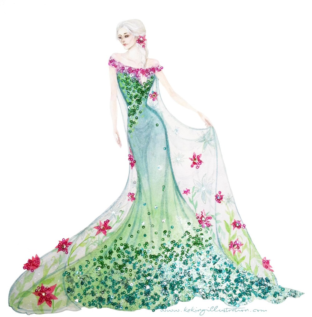 "How could I resist painting Elsa's gorgeous new dress from Disney's ""Frozen Fever"" ?"