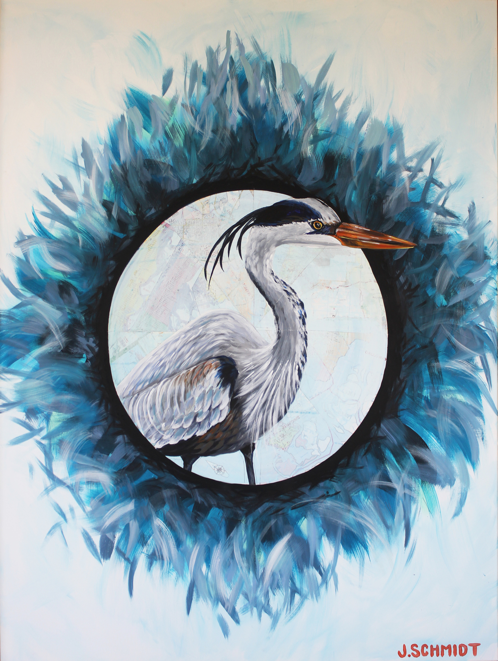 """Great Blue Heron"" 48x36 acrylic on canvas and absecon island map - handmade natural pine frame"