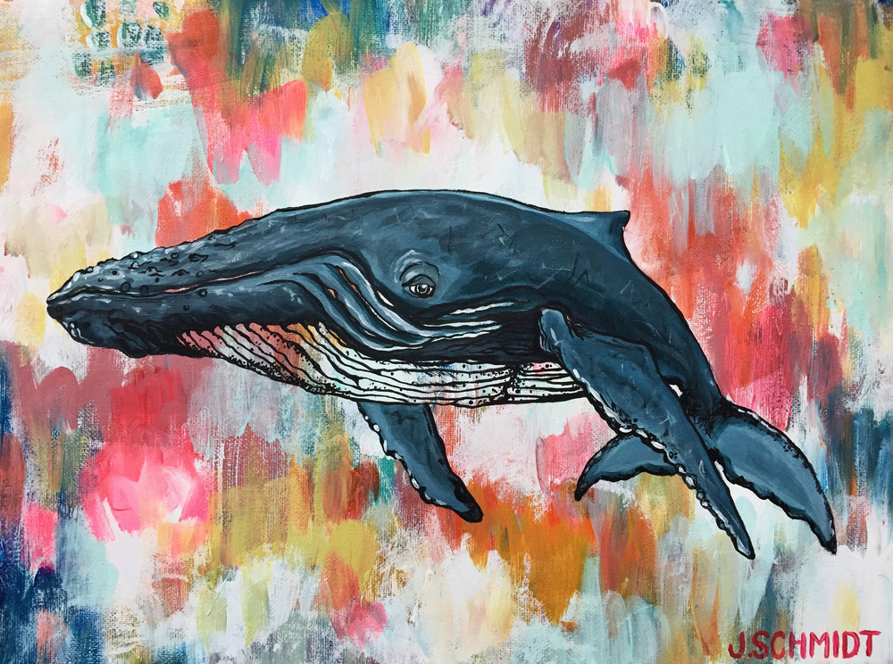 """Wishing Whale"" 12x16 acrylic on canvas - handmade natural pine frame"