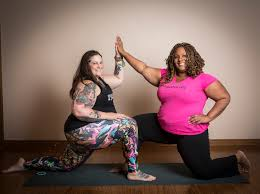 Dianne Bondy and Amber Karnes of the Yoga for All Training.