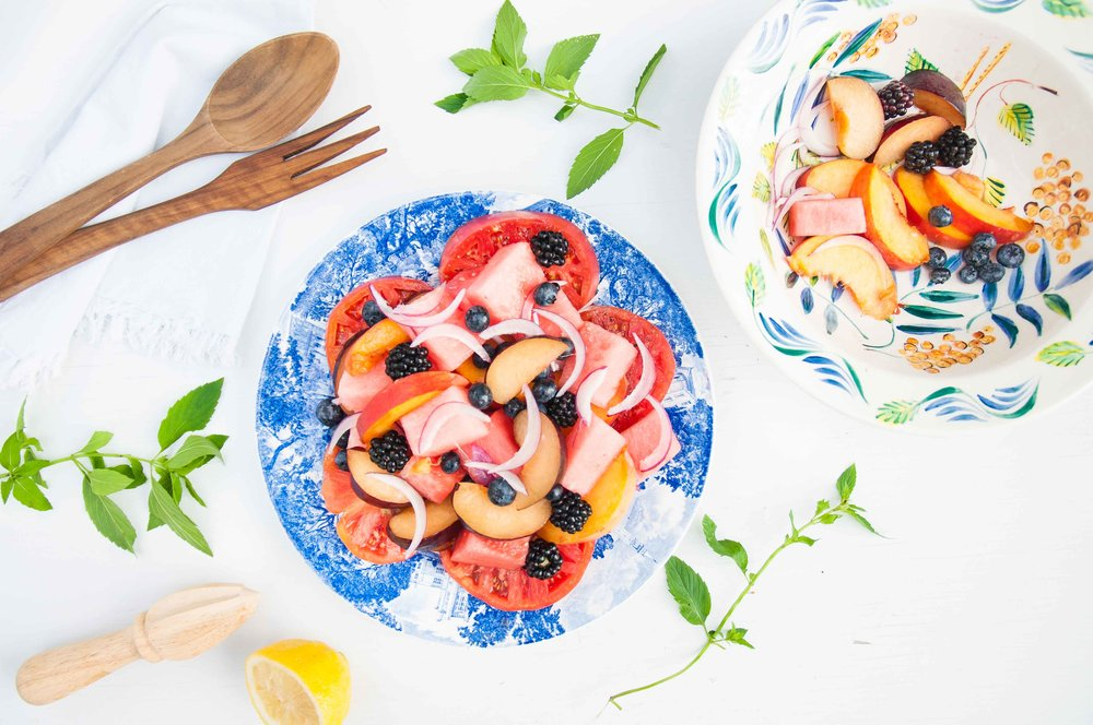 summer fruit + heirloom tomato salad - fried parsley