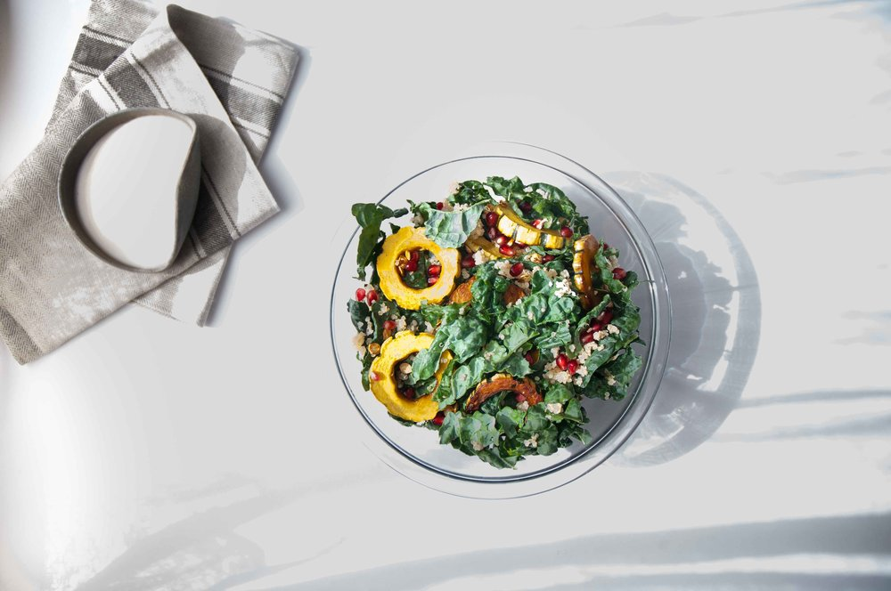 delicatat squash + kale salad -fried parsley