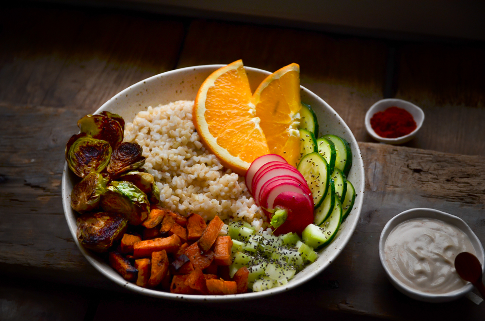 rainbow buddha bowl by fried parsley