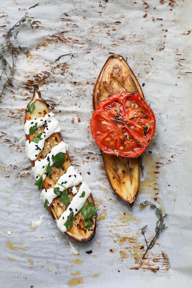 whole roasted eggplant ~ friedparsley.com