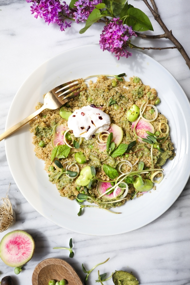 spring quinoa risotto with avocado cream by fried parsley