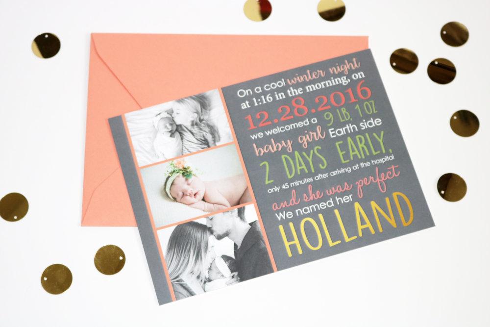 HOLLAND | BIRTH ANNOUNCEMENT