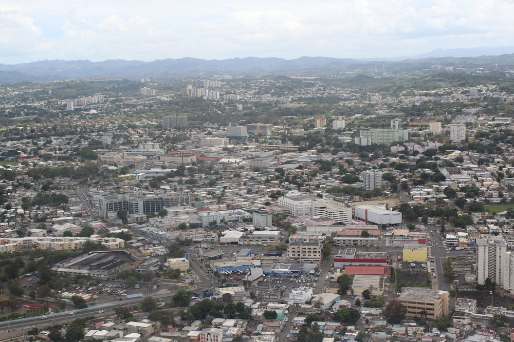Aerial view from the plane of San Juan, Puerto Rico.