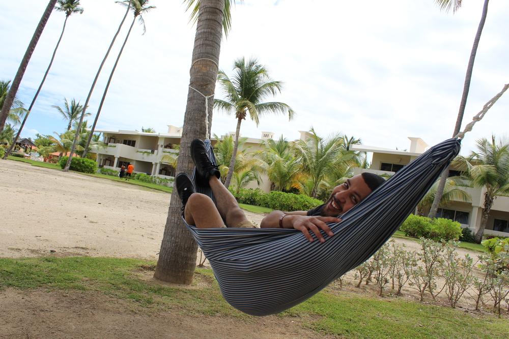 Enjoying our time on the hammocks.