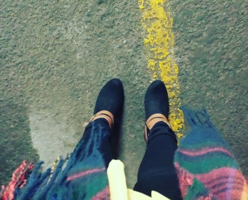 Wearing: Qupid Ankle Heel Boots from Primp Boutique, Skinny Pixie Pant from J. Crew, Blouse from H&M, & Blanket Plaid Scarf from Go Jane.