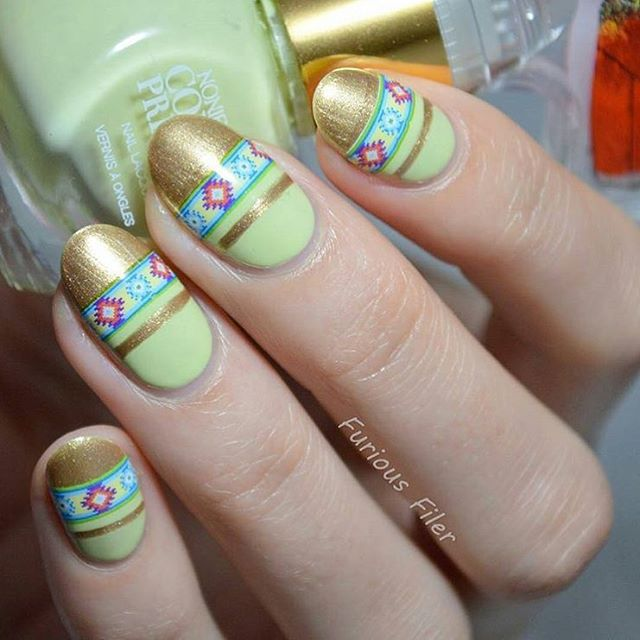 Southwest flair on bright spring colors - @furiousfiler knows how to mix up #nailart with our polish in 'Socially Awkward!' #colourprevails #noniecreme #walgreens