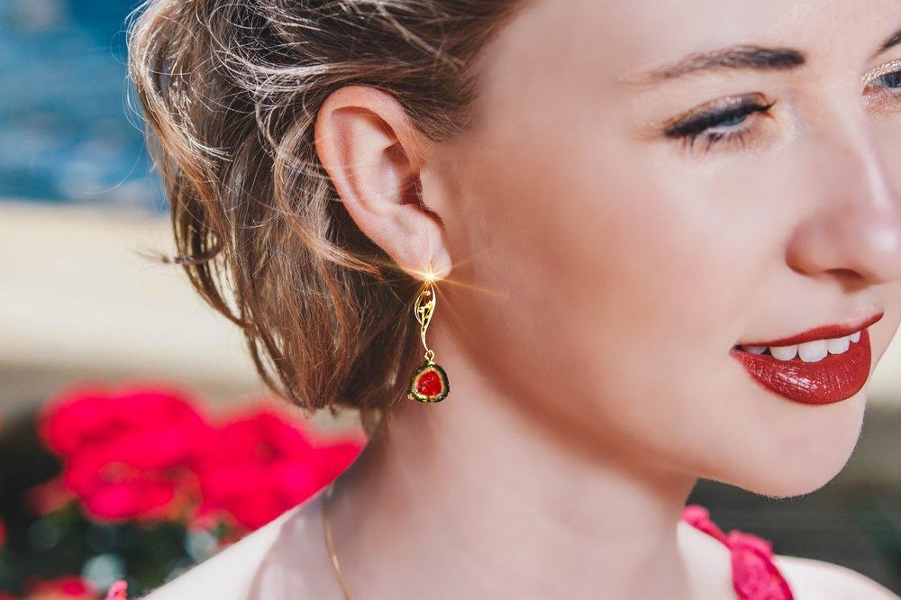 Watermelon Tourmaline Custom Design Earrings