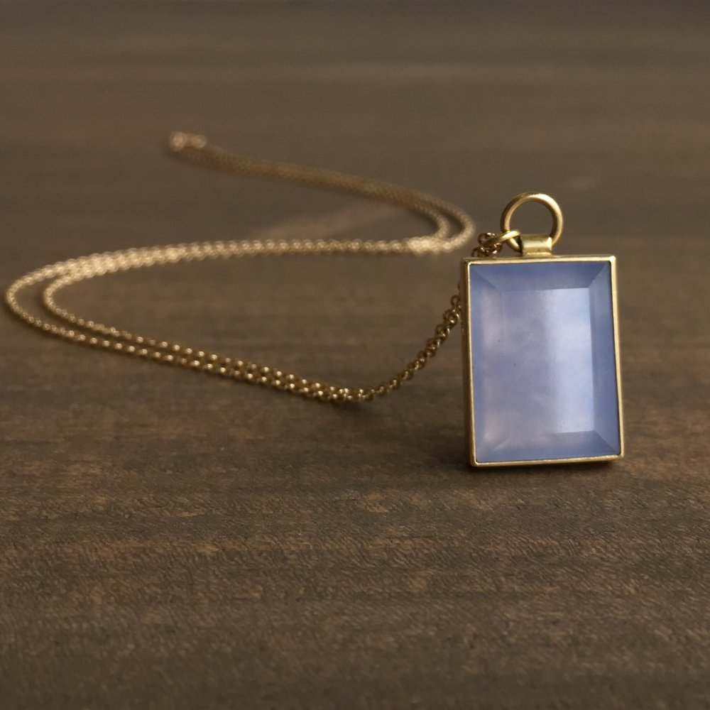Rectangle Chalcedony Necklace