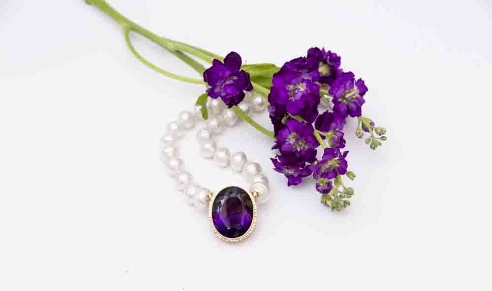 Amethyst and South Sea Pearl Necklace 101 ct