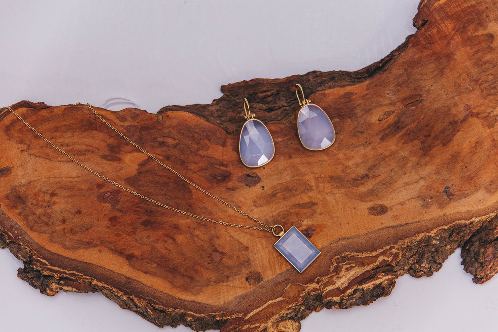 Faceted Chalcedony Drop Earrings