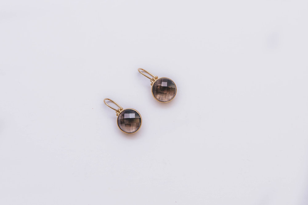 Faceted Smokey Quartz Earrings