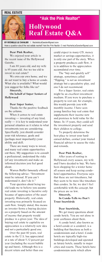 """Ask The Pink Realtor"" Hollywood Gazette  April 2011"