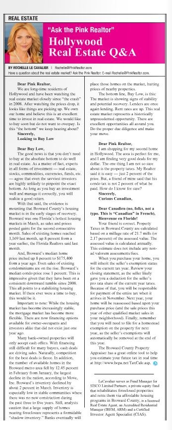 """Ask The Pink Realtor"" Hollywood Gazette  May 2011"
