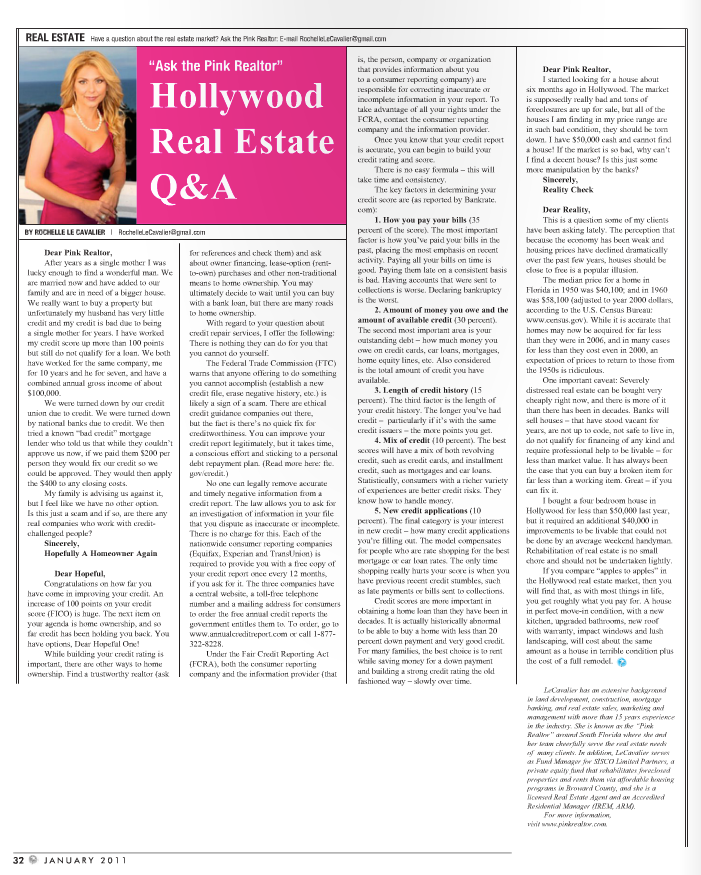 """Ask The Pink Realtor"" Hollywood Gazette  January 2011"